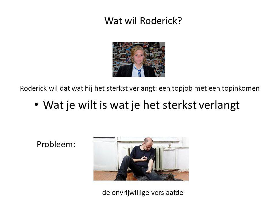 Wat wil Roderick? Roderick wil dat wat hij het sterkst verlangt: een topjob met een topinkomen • Wat je wilt is wat je het sterkst verlangt Probleem: