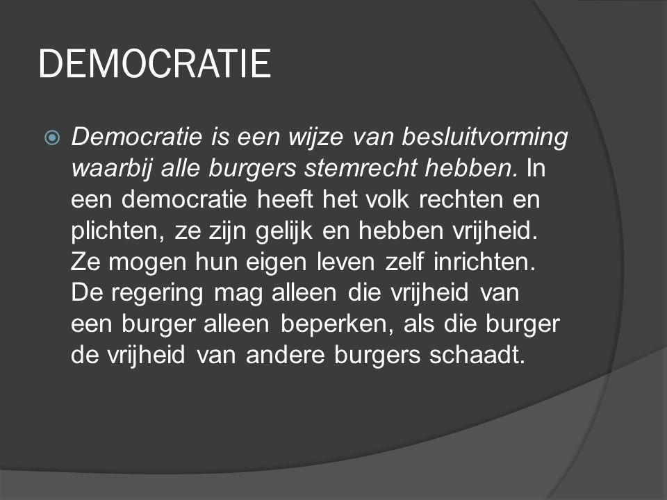 DEMOCRATIE  Democratie is een wijze van besluitvorming waarbij alle burgers stemrecht hebben. In een democratie heeft het volk rechten en plichten, z