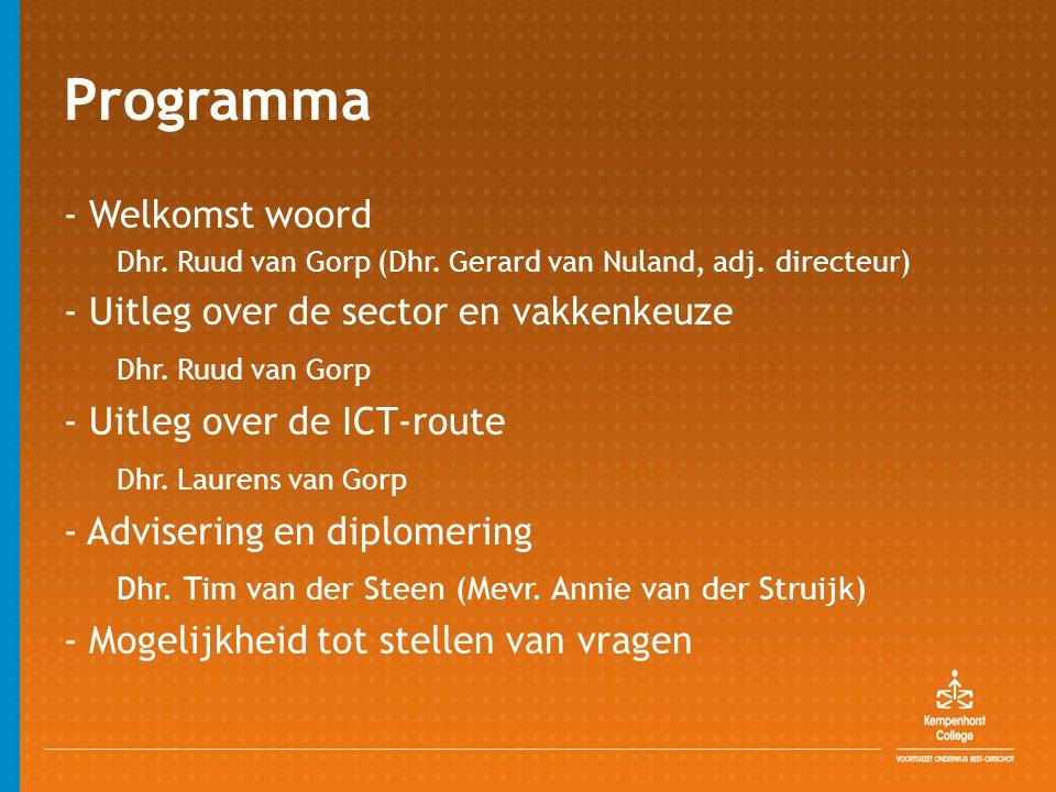 Programma - Welkomst woord Dhr. Ruud van Gorp (Dhr. Gerard van Nuland, adj. directeur) - Uitleg over de sector en vakkenkeuze Dhr. Ruud van Gorp - Uit