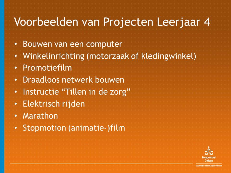 Voorbeelden van Projecten Leerjaar 4 • Bouwen van een computer • Winkelinrichting (motorzaak of kledingwinkel) • Promotiefilm • Draadloos netwerk bouw