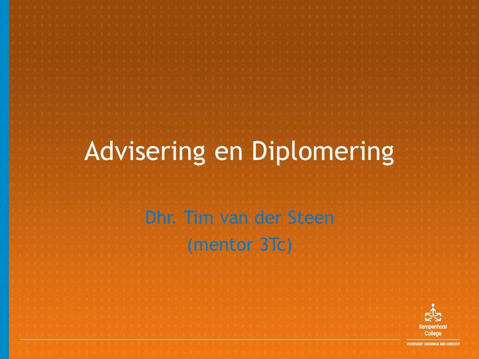 Advisering en Diplomering Dhr. Tim van der Steen (mentor 3Tc)