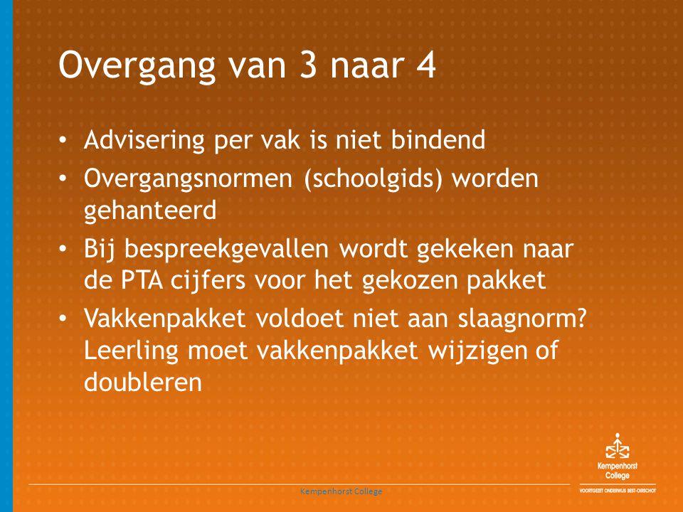 Overgang van 3 naar 4 • Advisering per vak is niet bindend • Overgangsnormen (schoolgids) worden gehanteerd • Bij bespreekgevallen wordt gekeken naar