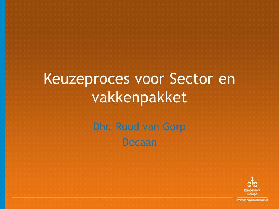 Keuzeproces voor Sector en vakkenpakket Dhr. Ruud van Gorp Decaan