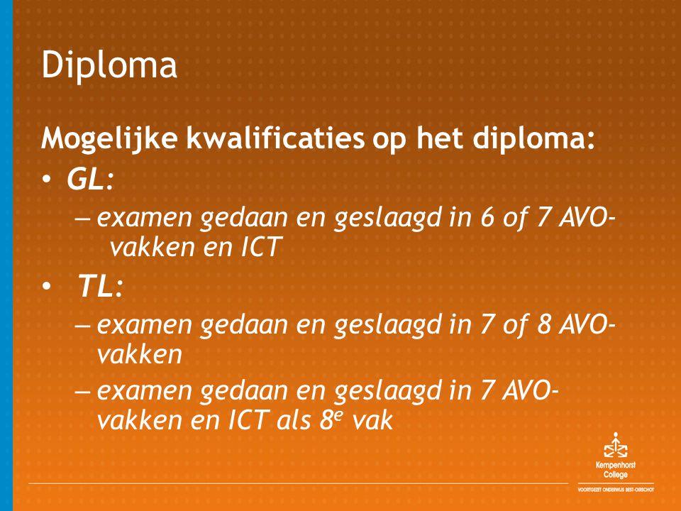 Diploma Mogelijke kwalificaties op het diploma: • GL: – examen gedaan en geslaagd in 6 of 7 AVO- vakken en ICT • TL: – examen gedaan en geslaagd in 7 of 8 AVO- vakken – examen gedaan en geslaagd in 7 AVO- vakken en ICT als 8 e vak