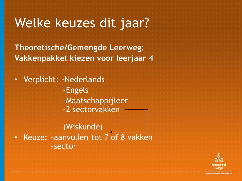 Welke keuzes dit jaar? Theoretische/Gemengde Leerweg: Vakkenpakket kiezen voor leerjaar 4 • Verplicht: -Nederlands -Engels -Maatschappijleer -2 sector