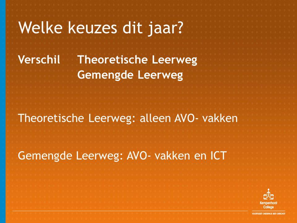 Welke keuzes dit jaar? Verschil Theoretische Leerweg Gemengde Leerweg Theoretische Leerweg: alleen AVO- vakken Gemengde Leerweg: AVO- vakken en ICT