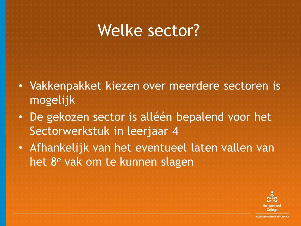 Welke sector? • Vakkenpakket kiezen over meerdere sectoren is mogelijk • De gekozen sector is alléén bepalend voor het Sectorwerkstuk in leerjaar 4 •