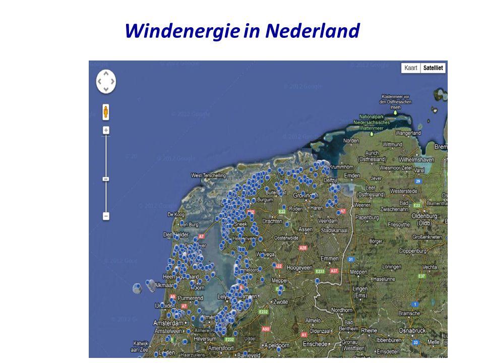 •Status on-shore windenergie in Nederland (december 2009) –1879 on-shore wind turbines met 1993 MW capaciteit •Capaciteit is niet hetzelfde als gemiddelde energieproductie –Grootste park staat in Eemshaven, Groningen: 204 MW •21 Vestas V90 3 MW (GroWind) •47 Enercon E82 3 MW (Westereems) –Andere windparken •Delfzijl-zuid (72 MW) •Lelystad (46 MW) •Terneuzen, Koegorspolder, Biddinghuizen •Meest windenerie wordt in Flevoland geproduceerd •Status off-shore windenergie in Nederland –Egmond aan Zee Offshore Wind Farm (2006) •36 Vestas V90 3 MW (108 MW) •Kosten Meuro 272 (Shell en Nuon) –Princess Amalia Wind Farm bij Ijmuiden •60 Vestas V80 2 MW (120 MW) •Kosten MEuro 522.3 (Econcern en Eneco) –Gemini bij Groningen (85 km buiten kust) •150 Siemand SWT-3.6 4 MW (600 MW) •Financiering is rond: 14 mei 2014 •Kosten GEuro 2.8 (Northland Power, Van Oord, Siemens,..) •SDE subsidie GEuro 4.5 (om stroomprijs concurrerend te maken; 15 jaar) –140 Euro subsidie per ton CO2 (EU ETS rekent met 30 Euro/ton) •Grootste offshore project in Europa Status windenergie in NL