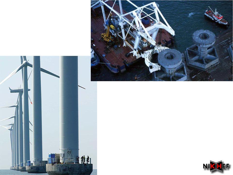 •Pilot project –11 turbines van 7 MW •Enercon E-126 7.5 MW •Dat is per maand meer dan 5.4e6 kWh –Data •Fundament E-126: 29 m diameter, 1400 m3 beton, 120 ton staal •Toren bestaat uit 35 prefab betonnen ringen (gewicht tot 40 t per ring) •'s Werelds grootste mobiele hijskraan: van1600 ton: hijst hub met rotorbladen (300 ton) 135 m hoog –On-line performance •Actueel: http://www.windvision.be/index.php?id=340http://www.windvision.be/index.php?id=340 •Historisch: http://www.windvision.be/index.php?id=339http://www.windvision.be/index.php?id=339 Windpark Estinnes in Belgie