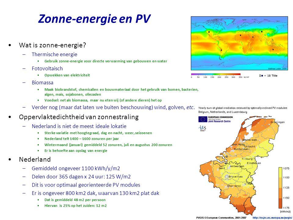 •3 m 2 warm water paneel (groen) •Additioneel benodigde warmte (blauw) •Energie nodig voor besturing (paars) •Warm water gebruik (rood) •Warmteverlies is 1.5 – 2 kWh/d •Gemiddeld vermogen –Testhuis van Viridian •3.8 kWh/d gemiddeld voor 3 m2 •100 l water van 60 oC per dag •3.8 kWh/d/3 m2 = 3.8 kWh/d/(24 h/d)/3 m2 = 53 W/m2 •Oefening voor Nederland –Voorzie alle daken op het zuiden van zonneboilers –Dat is 12 m 2 per persoon –Neem aan 50% efficientie en 125 W/m2 •0.5 x 12 m2/p x 125 W/m2 = 750 W/p •750 W x 24 h/d/p = 18 kWh/d/p –Dit is hoge entropie energie •Geen elektriciteit •Minder waarde dan bijvoorbeeld windenergie •Verknoeid als je het niet gebruikt •Niet voldoende voorhanden waar nodig (in steden!) •Sterk seizoensafhankelijk Zonneboiler – voorbeeld Zon Th: 18 kWh/d