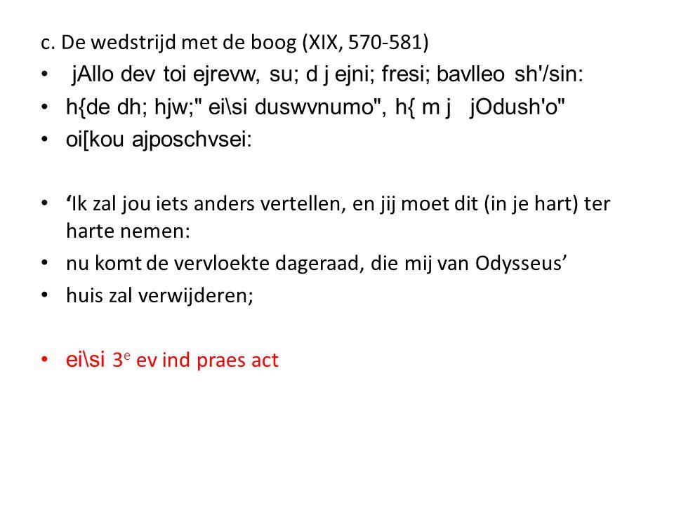 c. De wedstrijd met de boog (XIX, 570-581) • jAllo dev toi ejrevw, su; d j ejni; fresi; bavlleo sh'/sin: •h{de dh; hjw;