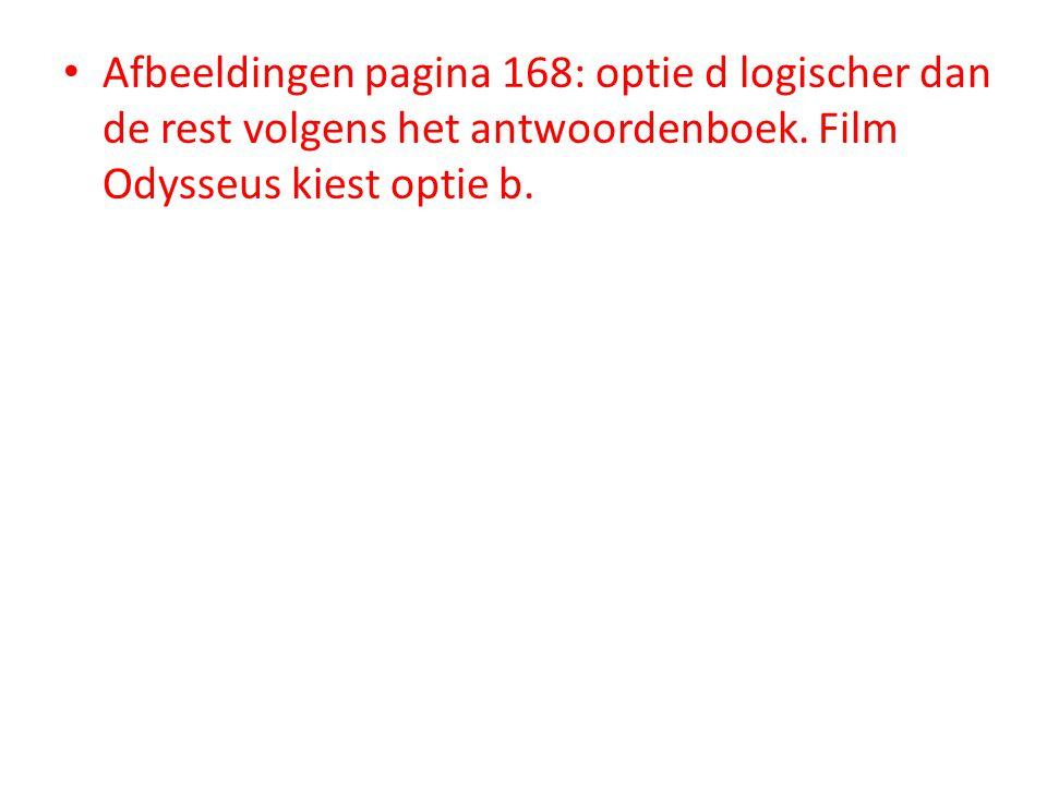 • Afbeeldingen pagina 168: optie d logischer dan de rest volgens het antwoordenboek.