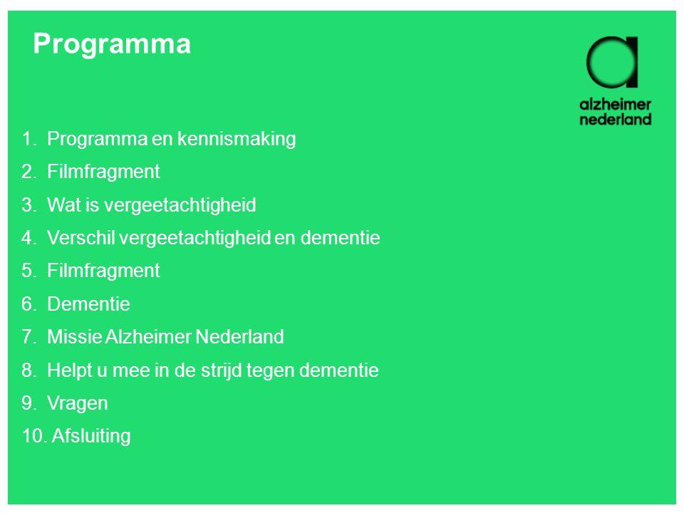 Programma 1.Programma en kennismaking 2.Filmfragment 3.Wat is vergeetachtigheid 4.Verschil vergeetachtigheid en dementie 5.Filmfragment 6.Dementie 7.M