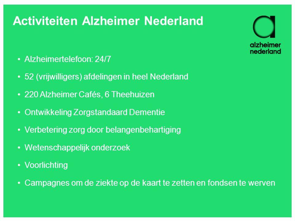 Activiteiten Alzheimer Nederland •Alzheimertelefoon: 24/7 •52 (vrijwilligers) afdelingen in heel Nederland •220 Alzheimer Cafés, 6 Theehuizen •Ontwikk