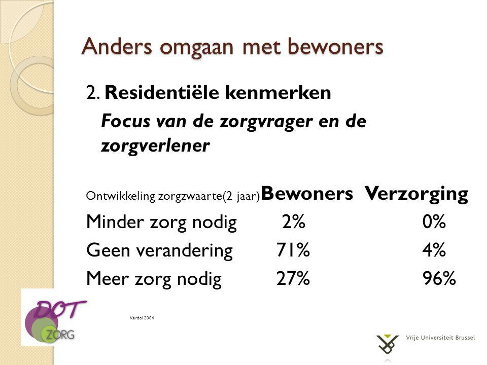 Anders omgaan met bewoners 2. Residentiële kenmerken Focus van de zorgvrager en de zorgverlener Ontwikkeling zorgzwaarte(2 jaar) Bewoners Verzorging M