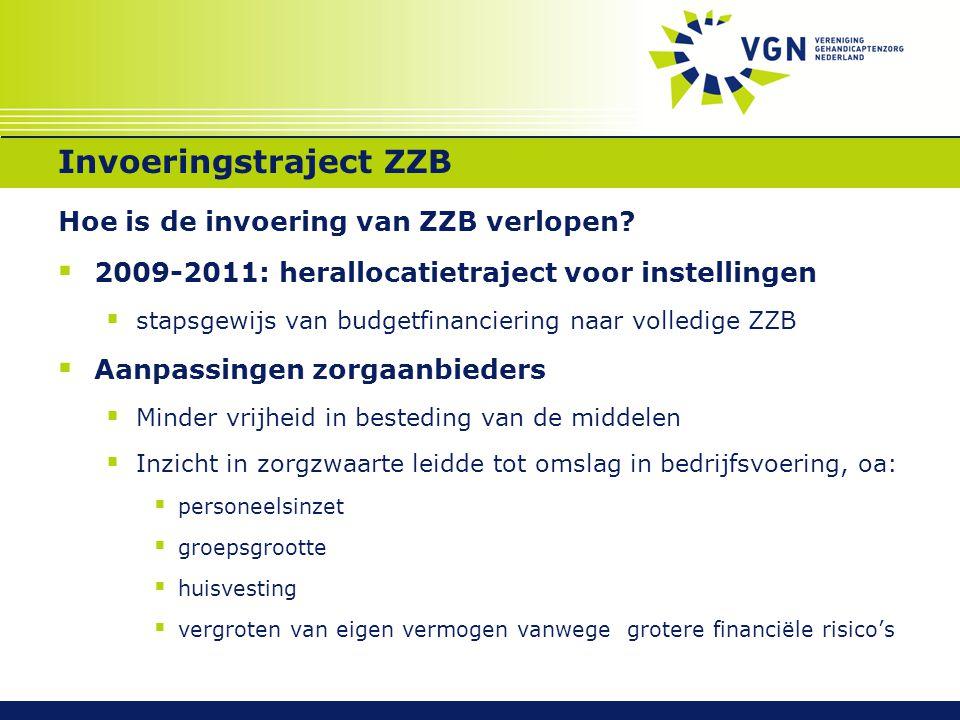 Invoeringstraject ZZB Hoe is de invoering van ZZB verlopen?  2009-2011: herallocatietraject voor instellingen  stapsgewijs van budgetfinanciering na