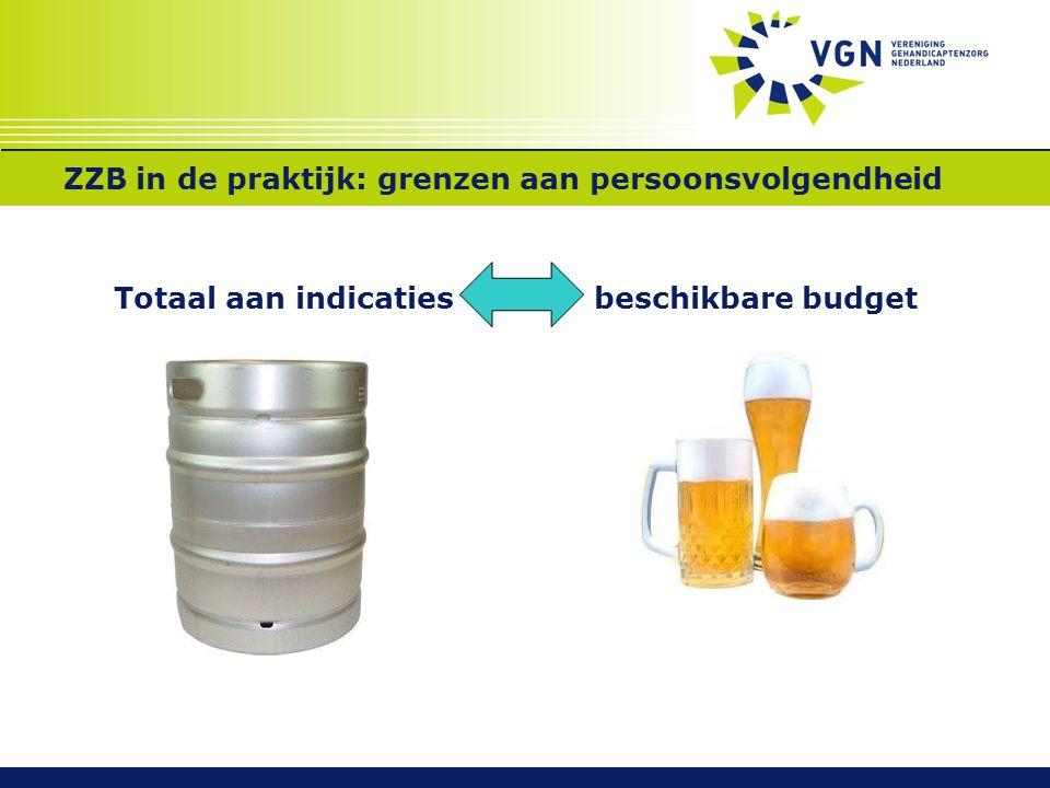 ZZB in de praktijk: grenzen aan persoonsvolgendheid Totaal aan indicaties beschikbare budget