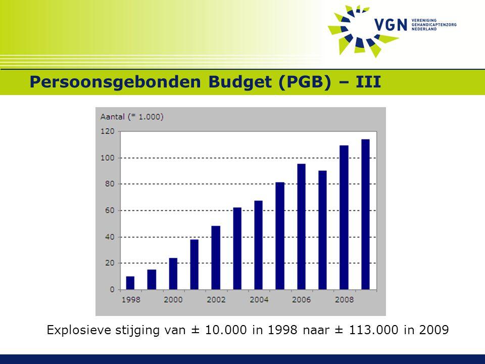 Persoonsgebonden Budget (PGB) – III Explosieve stijging van ± 10.000 in 1998 naar ± 113.000 in 2009