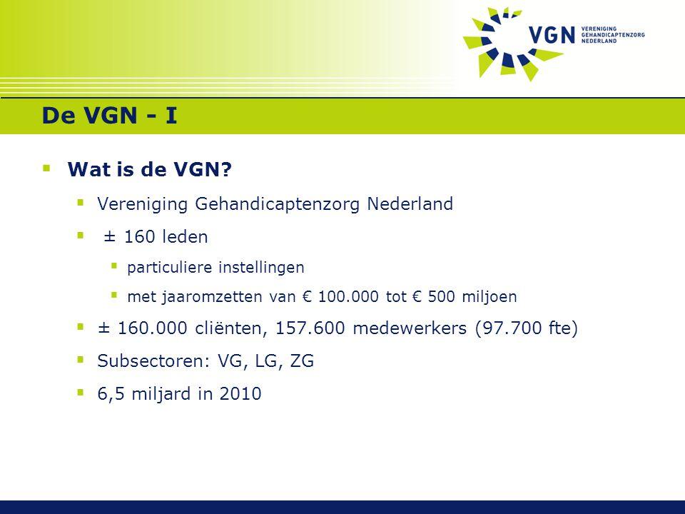 De VGN - I  Wat is de VGN?  Vereniging Gehandicaptenzorg Nederland  ± 160 leden  particuliere instellingen  met jaaromzetten van € 100.000 tot €