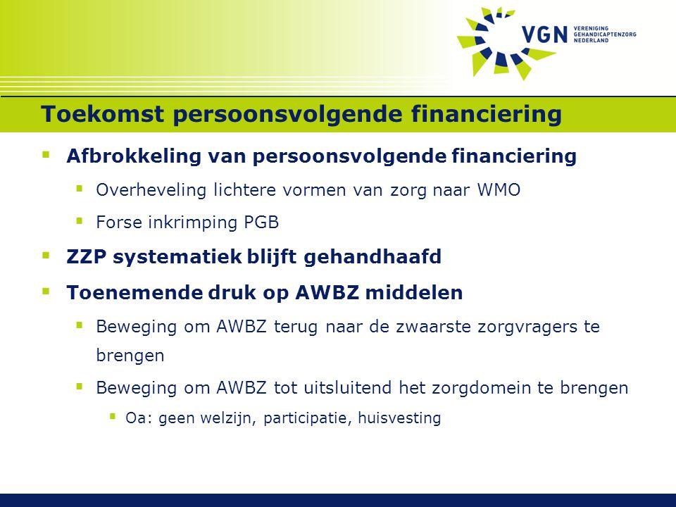 Toekomst persoonsvolgende financiering  Afbrokkeling van persoonsvolgende financiering  Overheveling lichtere vormen van zorg naar WMO  Forse inkri