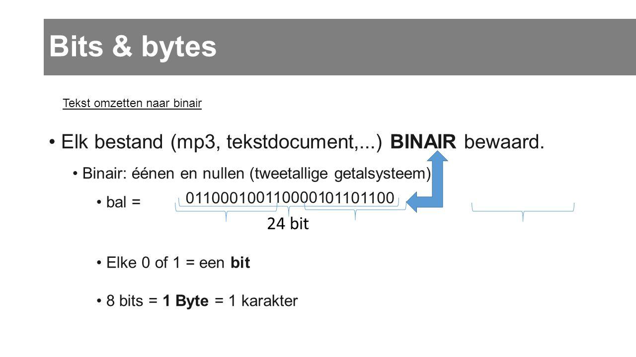Bits & bytes • Elk bestand (mp3, tekstdocument,...) BINAIR bewaard. • Binair: éénen en nullen (tweetallige getalsysteem) • bal = • Elke 0 of 1 = een b