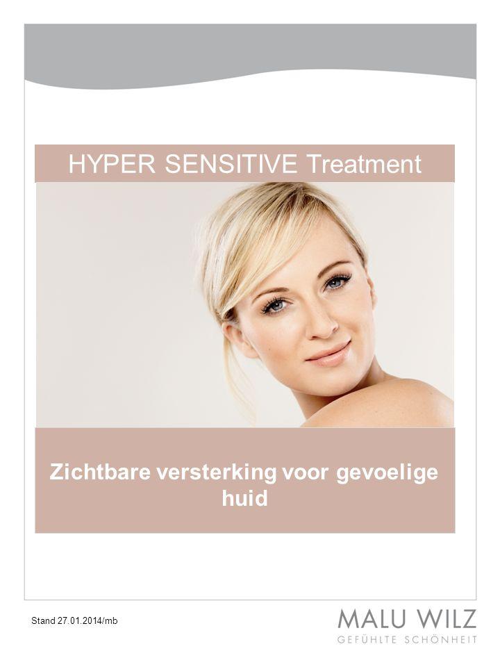 Deze Hyper Sensitive lijn en Treatment zorgen voor:  Versterking van de barrièrefunctie  Kalmering van de huid  Een egalere huid  Vermindering van roodheid en ontstekingsprocessen  Verhoging van de tolerantiedrempel van de huid I.