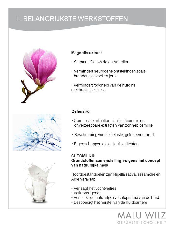 II. BELANGRIJKSTE WERKSTOFFEN Magnolia-extract •Stamt uit Oost-Azië en Amerika •Vermindert neurogene ontstekingen zoals branderig gevoel en jeuk • Ver