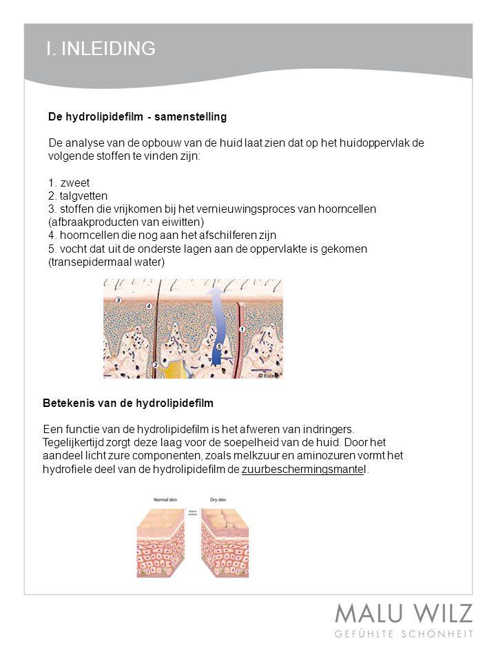 I. INLEIDING De hydrolipidefilm - samenstelling De analyse van de opbouw van de huid laat zien dat op het huidoppervlak de volgende stoffen te vinden