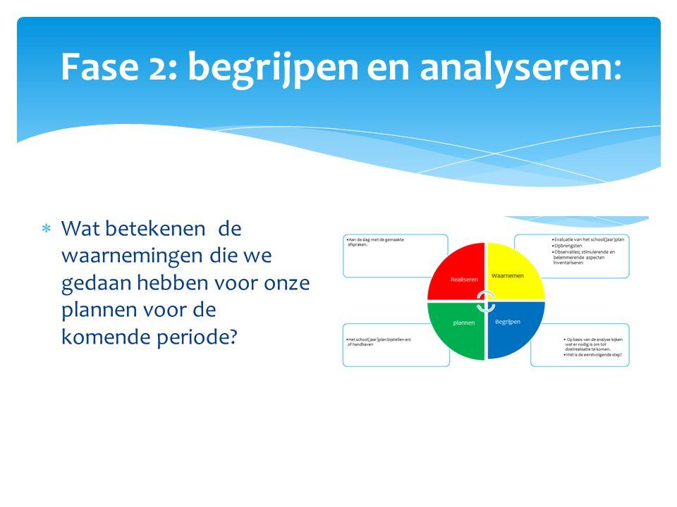 Fase 2: begrijpen en analyseren:  Wat betekenen de waarnemingen die we gedaan hebben voor onze plannen voor de komende periode