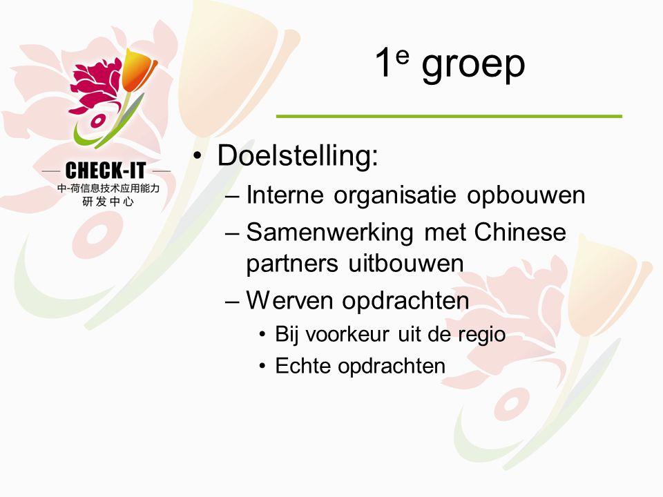 1 e groep •Doelstelling: –Interne organisatie opbouwen –Samenwerking met Chinese partners uitbouwen –Werven opdrachten •Bij voorkeur uit de regio •Echte opdrachten