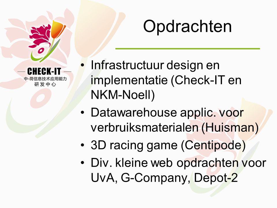 Opdrachten •Infrastructuur design en implementatie (Check-IT en NKM-Noell) •Datawarehouse applic.