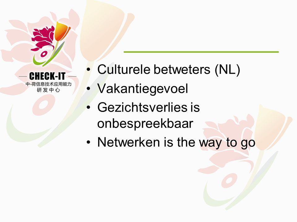 •Culturele betweters (NL) •Vakantiegevoel •Gezichtsverlies is onbespreekbaar •Netwerken is the way to go