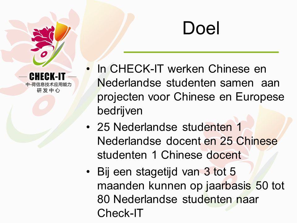 Doel •In CHECK-IT werken Chinese en Nederlandse studenten samen aan projecten voor Chinese en Europese bedrijven •25 Nederlandse studenten 1 Nederlandse docent en 25 Chinese studenten 1 Chinese docent •Bij een stagetijd van 3 tot 5 maanden kunnen op jaarbasis 50 tot 80 Nederlandse studenten naar Check-IT