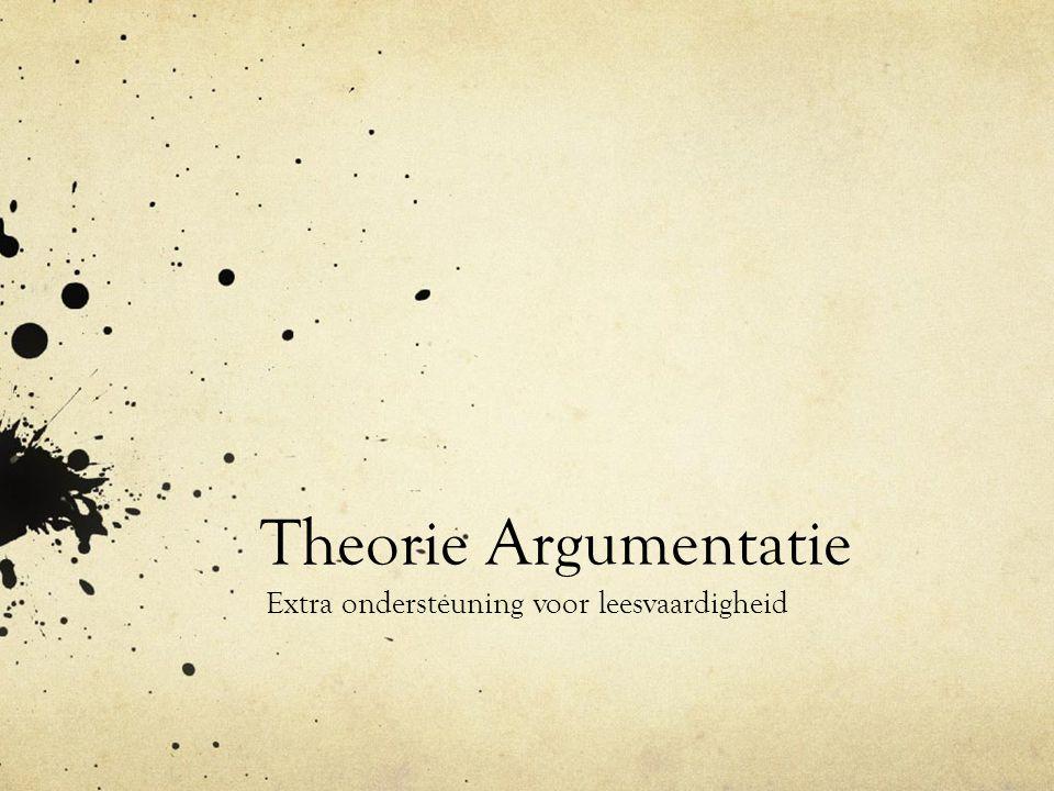Theorie Argumentatie Extra ondersteuning voor leesvaardigheid