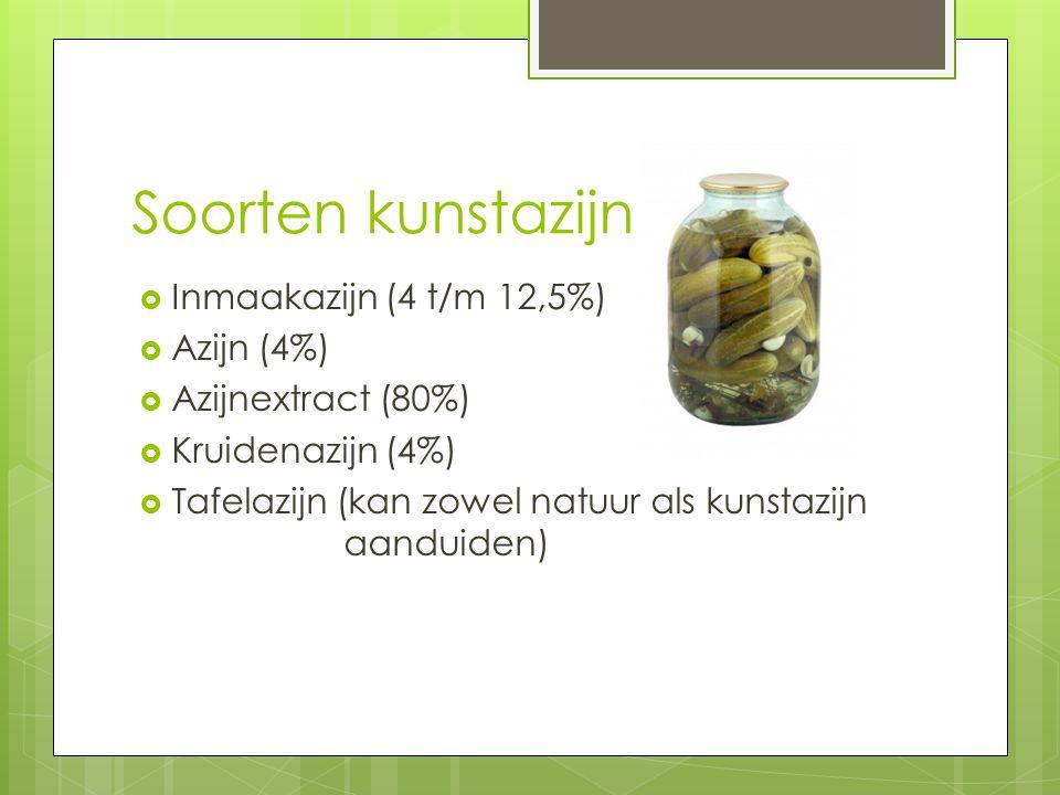 Soorten kunstazijn  Inmaakazijn (4 t/m 12,5%)  Azijn (4%)  Azijnextract (80%)  Kruidenazijn (4%)  Tafelazijn (kan zowel natuur als kunstazijn aan