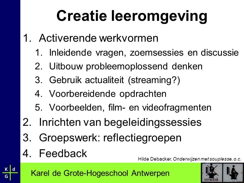 Karel de Grote-Hogeschool Antwerpen Creatie leeromgeving 1.Activerende werkvormen 1.Inleidende vragen, zoemsessies en discussie 2.Uitbouw probleemoplo