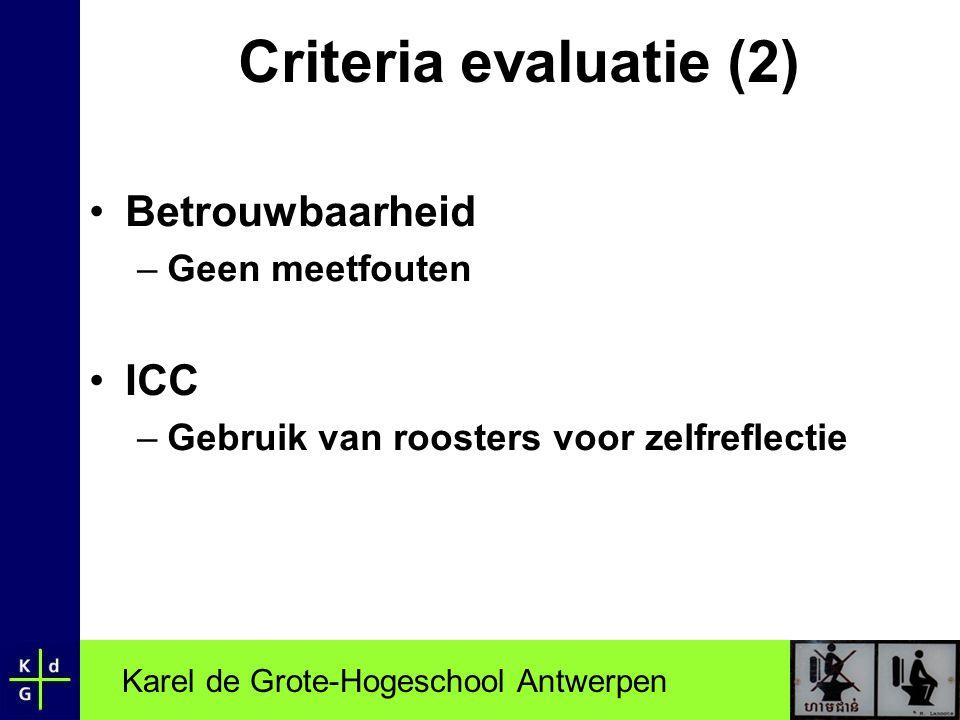 Karel de Grote-Hogeschool Antwerpen Criteria evaluatie (2) •Betrouwbaarheid –Geen meetfouten •ICC –Gebruik van roosters voor zelfreflectie