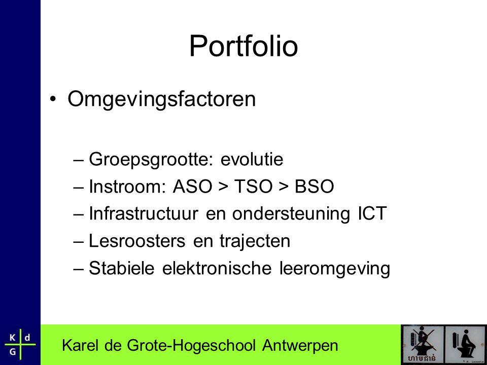 Karel de Grote-Hogeschool Antwerpen Portfolio •Omgevingsfactoren –Groepsgrootte: evolutie –Instroom: ASO > TSO > BSO –Infrastructuur en ondersteuning