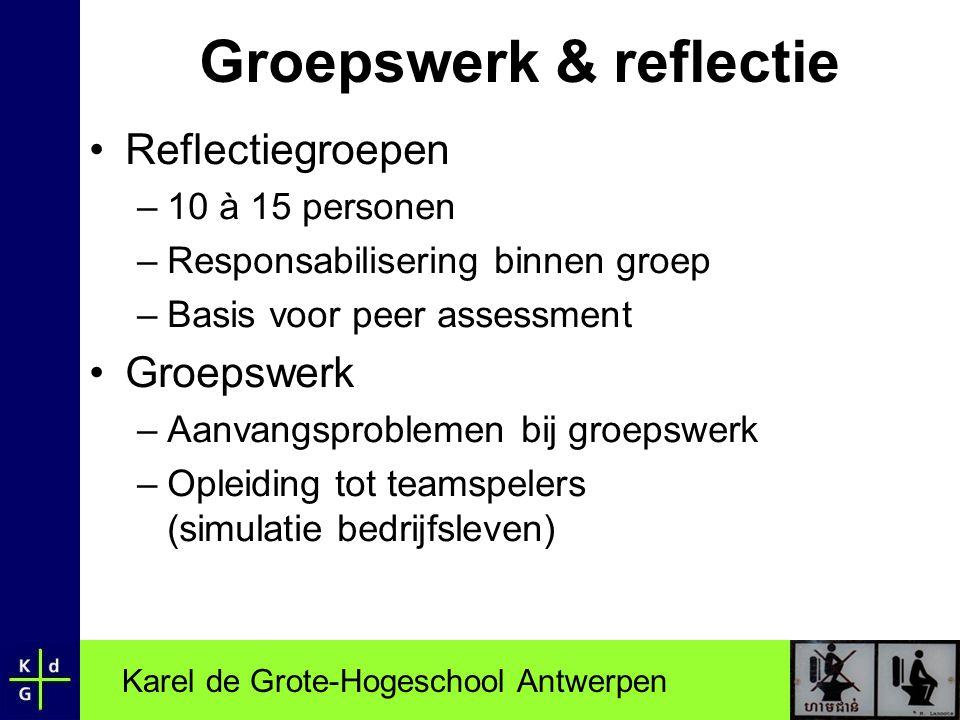 Karel de Grote-Hogeschool Antwerpen Groepswerk & reflectie •Reflectiegroepen –10 à 15 personen –Responsabilisering binnen groep –Basis voor peer asses
