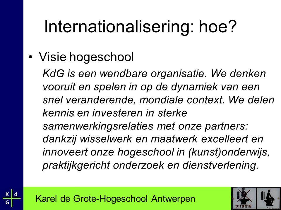 Karel de Grote-Hogeschool Antwerpen Internationalisering: hoe? •Visie hogeschool KdG is een wendbare organisatie. We denken vooruit en spelen in op de