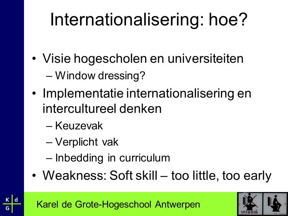 Karel de Grote-Hogeschool Antwerpen Internationalisering: hoe? •Visie hogescholen en universiteiten –Window dressing? •Implementatie internationaliser