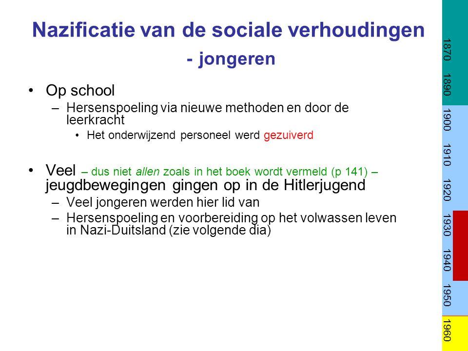 Nazificatie van de sociale verhoudingen - jongeren •Op school –Hersenspoeling via nieuwe methoden en door de leerkracht •Het onderwijzend personeel we