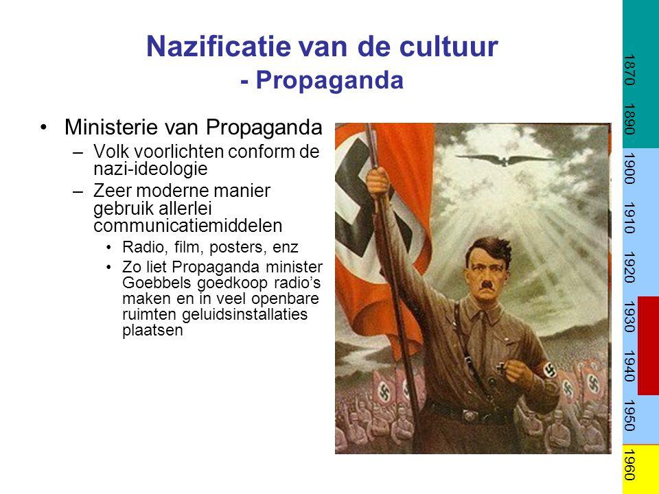 Nazificatie van de cultuur - Propaganda •Ministerie van Propaganda –Volk voorlichten conform de nazi-ideologie –Zeer moderne manier gebruik allerlei c