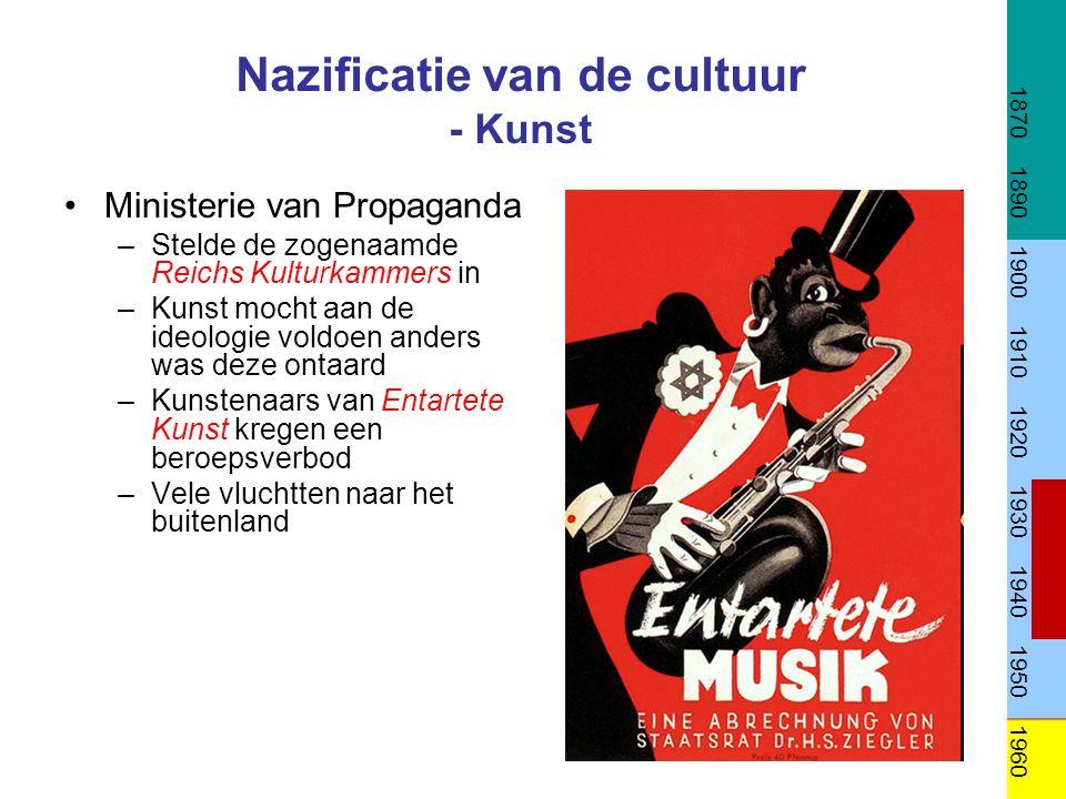 Nazificatie van de cultuur - Kunst •Ministerie van Propaganda –Stelde de zogenaamde Reichs Kulturkammers in –Kunst mocht aan de ideologie voldoen ande