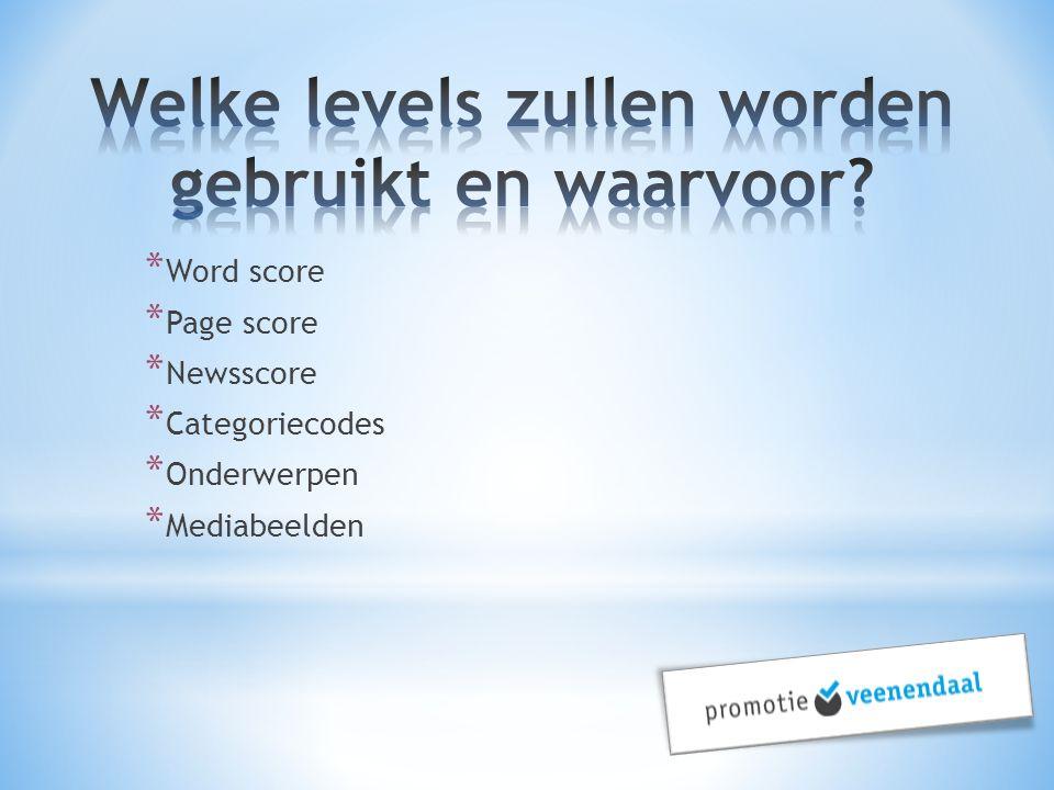 * Word score * Page score * Newsscore * Categoriecodes * Onderwerpen * Mediabeelden