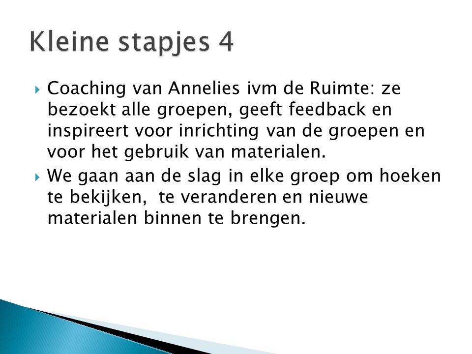 Coaching van Annelies ivm de Ruimte: ze bezoekt alle groepen, geeft feedback en inspireert voor inrichting van de groepen en voor het gebruik van materialen.