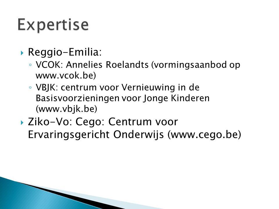  Reggio-Emilia: ◦ VCOK: Annelies Roelandts (vormingsaanbod op www.vcok.be) ◦ VBJK: centrum voor Vernieuwing in de Basisvoorzieningen voor Jonge Kinderen (www.vbjk.be)  Ziko-Vo: Cego: Centrum voor Ervaringsgericht Onderwijs (www.cego.be)