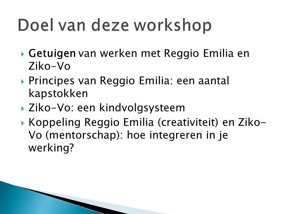  Getuigen van werken met Reggio Emilia en Ziko-Vo  Principes van Reggio Emilia: een aantal kapstokken  Ziko-Vo: een kindvolgsysteem  Koppeling Reggio Emilia (creativiteit) en Ziko- Vo (mentorschap): hoe integreren in je werking?