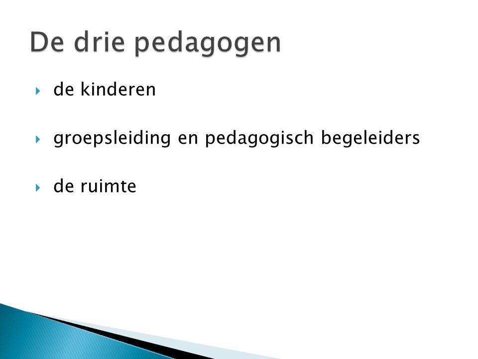  de kinderen  groepsleiding en pedagogisch begeleiders  de ruimte