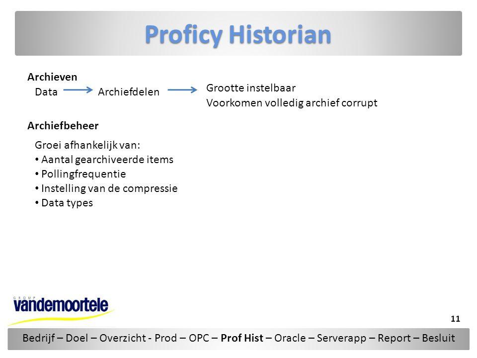 Proficy Historian Archieven DataArchiefdelen Grootte instelbaar Voorkomen volledig archief corrupt Archiefbeheer Groei afhankelijk van: • Aantal gearc
